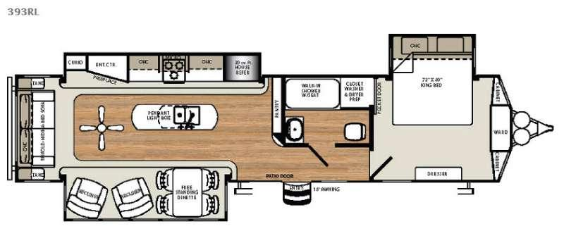 Floorplan - 2016 Forest River RV Sandpiper Destination Trailers 393RL