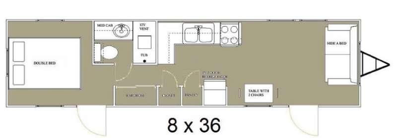 Floorplan - 2015 Allen Camper Manufacturing Idle-Time 8 x 36