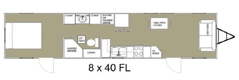 Floorplan - 2015 Allen Camper Manufacturing Idle-Time 8 x 40 FL