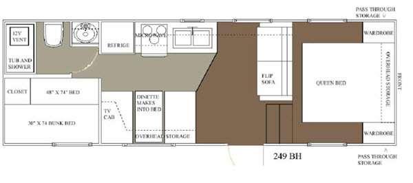 Floorplan - 2015 Allen Camper Manufacturing Outpost Lite 249 BH