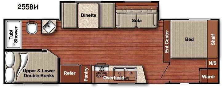 Floorplan - 2016 Gulf Stream RV Ameri-Lite 255BH