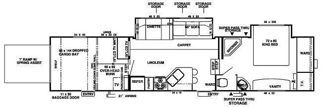 Floorplan - 2007 Forest River RV Wildwood XL 376SRVBS