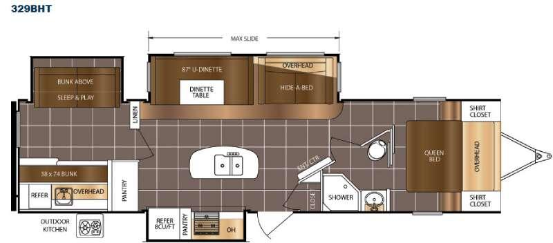 Floorplan - 2016 Prime Time RV LaCrosse 329BHT