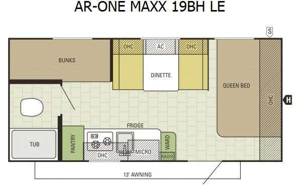 Floorplan - 2016 Starcraft AR-ONE MAXX 19BH LE