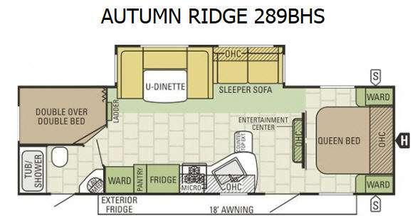 Autumn Ridge 289BHS Floorplan Image