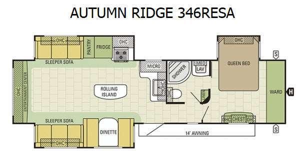 Floorplan - 2016 Autumn Ridge 346RESA Travel Trailer