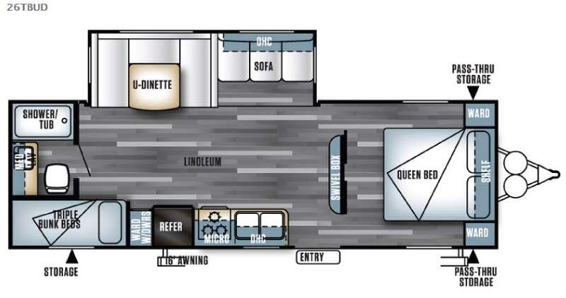 Floorplan - 2016 Forest River RV Salem 26TBUD