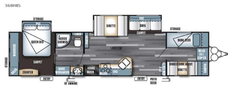 Floorplan - 2016 Forest River RV Salem 36BHBS