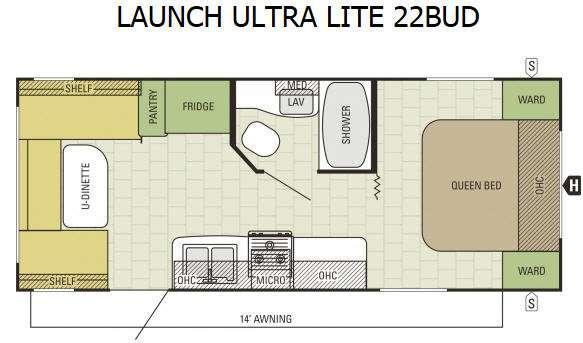 Floorplan - 2016 Starcraft Launch Ultra Lite 22BUD