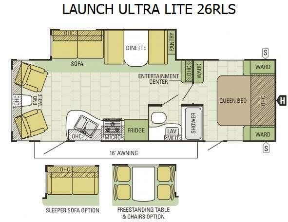 Floorplan - 2016 Starcraft Launch Ultra Lite 26RLS