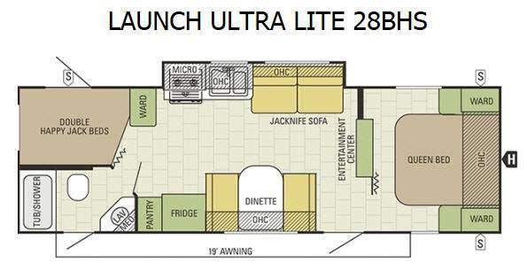 Floorplan - 2016 Starcraft Launch Ultra Lite 28BHS
