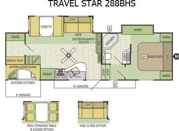 Floorplan - 2016 Starcraft Travel Star 288BHS