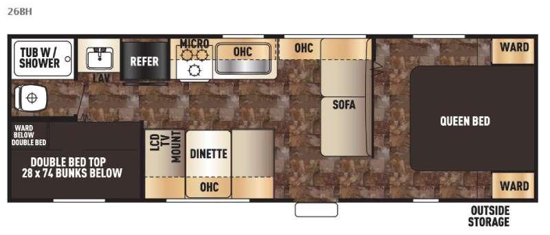 Floorplan - 2016 Forest River RV Cherokee Grey Wolf 26BH