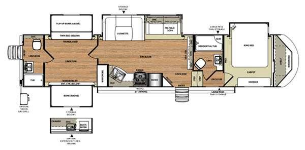Floorplan - 2016 Forest River RV Wildwood Heritage Glen 356QB