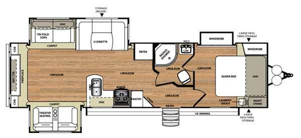 Floorplan - 2016 Forest River RV Wildwood Heritage Glen 299RE