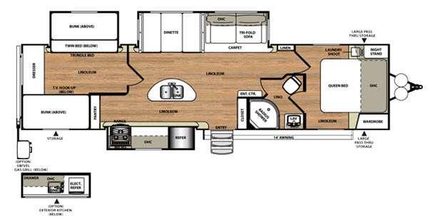 Floorplan - 2016 Forest River RV Wildwood Heritage Glen 300BH