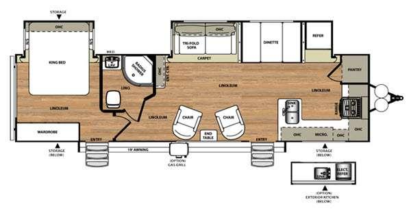 Floorplan - 2016 Forest River RV Wildwood Heritage Glen 302FK
