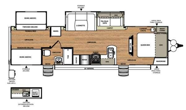 Floorplan - 2016 Forest River RV Wildwood Heritage Glen 312QBUD