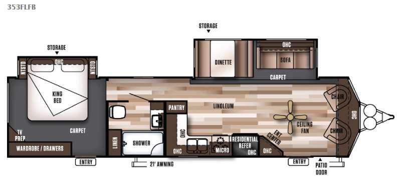 Floorplan - 2016 Forest River RV Wildwood DLX 353FLFB