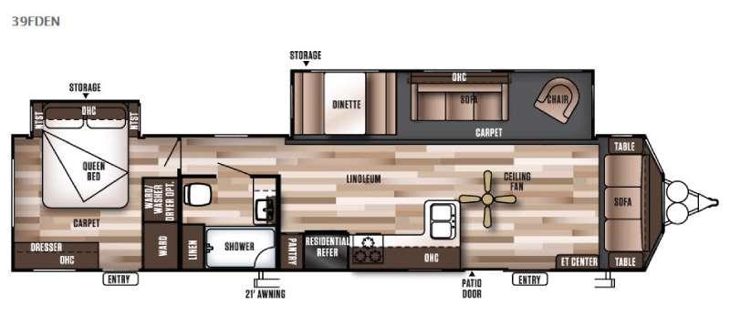 Floorplan - 2016 Forest River RV Wildwood DLX 39FDEN