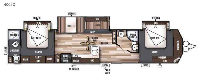 Floorplan - 2016 Forest River RV Wildwood DLX 4002Q