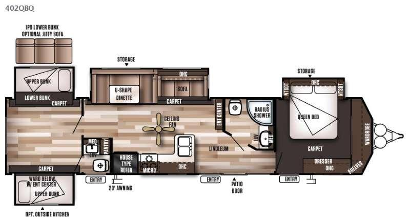 Floorplan - 2016 Forest River RV Wildwood DLX 402QBQ