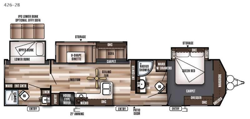 Floorplan - 2016 Forest River RV Wildwood DLX 426-2B