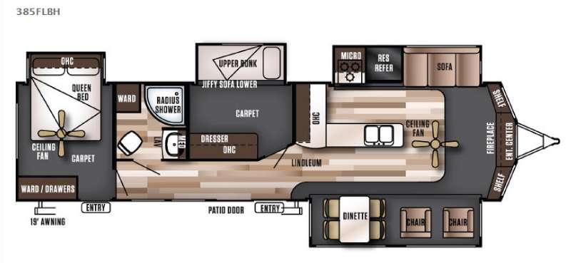Floorplan - 2016 Forest River RV Wildwood Lodge 385FLBH