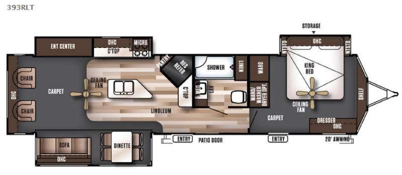 Wildwood Lodge 393RLT Floorplan Image