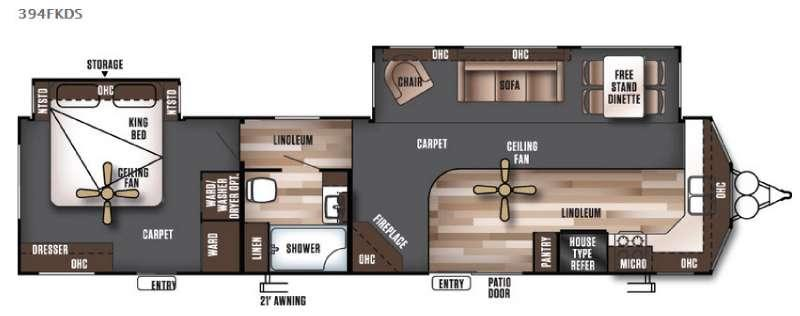 Floorplan - 2016 Forest River RV Wildwood Lodge 394FKDS