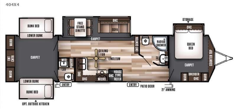 Floorplan - 2016 Forest River RV Wildwood Lodge 404X4