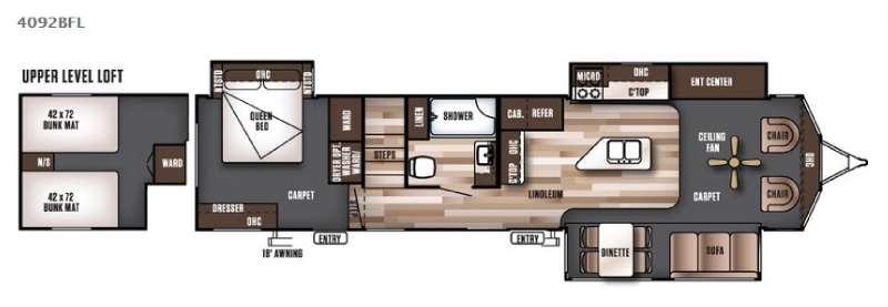 Floorplan - 2016 Forest River RV Wildwood Lodge 4092BFL