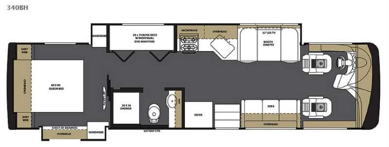 Floorplan - 2016 Forest River RV Legacy SR 340 340BH