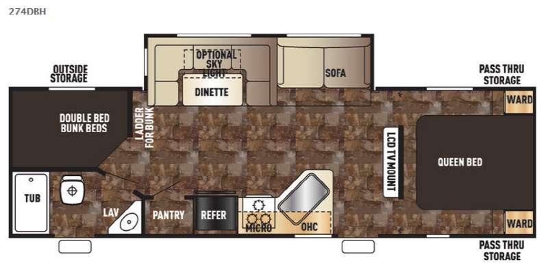Floorplan - 2016 Forest River RV Cherokee 274DBH