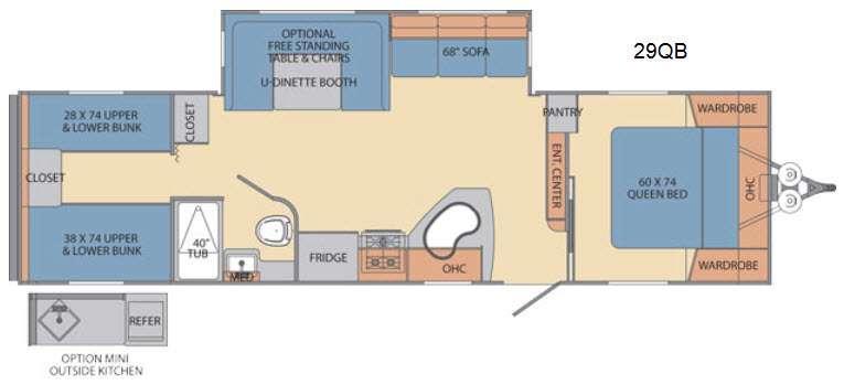Floorplan - 2016 Shasta RVs Revere 29QB