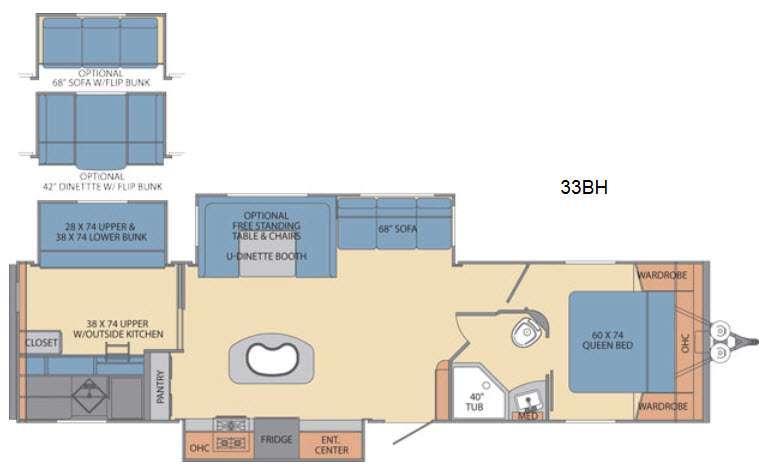 Floorplan - 2016 Shasta RVs Revere 33BH