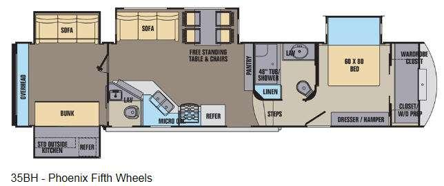 Floorplan - 2016 Shasta RVs Phoenix 35BH