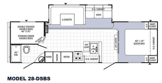 Floorplan - 2016 Palomino Puma 28-DSBS