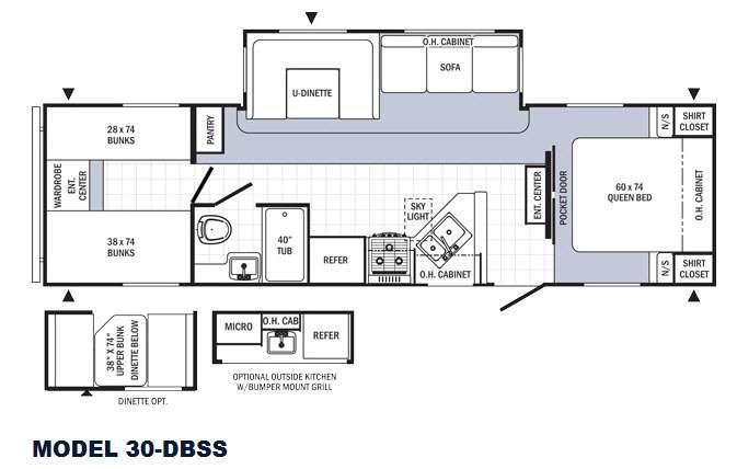 Floorplan - 2016 Palomino Puma 30-DBSS