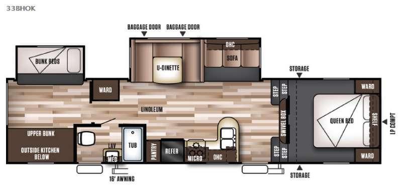 Floorplan - 2016 Forest River RV Wildwood 33BHOK