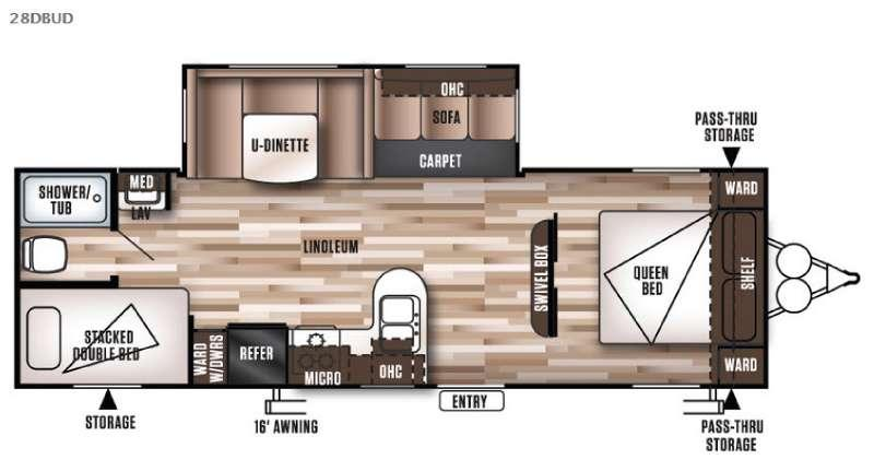 Floorplan - 2016 Forest River RV Wildwood 28DBUD