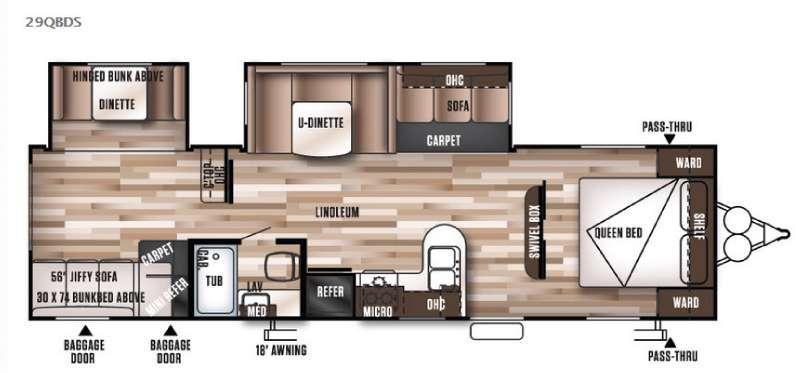 Wildwood 29QBDS Floorplan Image