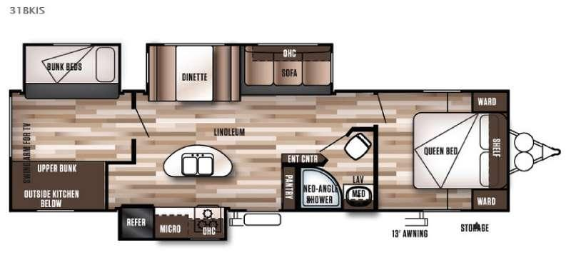 Floorplan - 2016 Forest River RV Wildwood 31BKIS