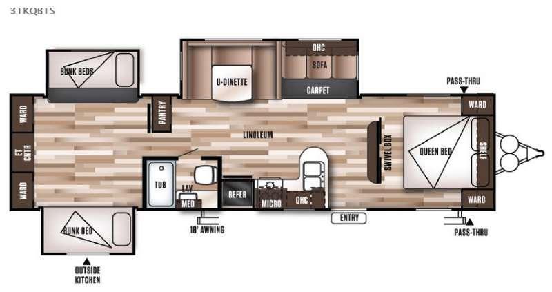 Floorplan - 2016 Forest River RV Wildwood 31KQBTS
