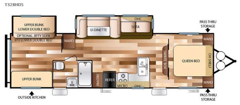 Floorplan - 2016 Forest River RV Wildwood 32BHDS