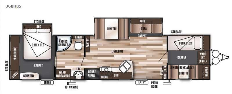Floorplan - 2016 Forest River RV Wildwood 36BHBS