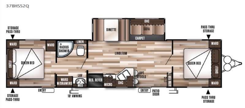 Floorplan - 2016 Forest River RV Wildwood 37BHSS2Q