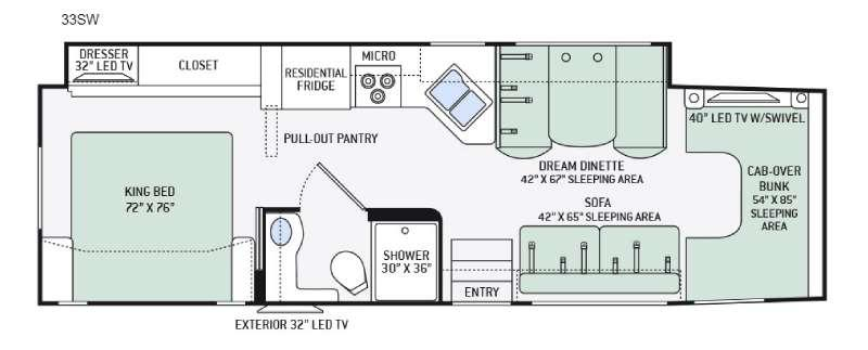 Floorplan - 2016 Thor Motor Coach Four Winds Super C 33SW