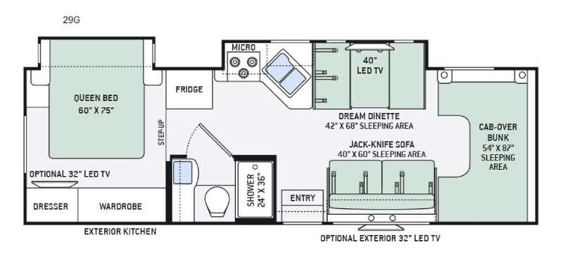 Floorplan - 2016 Thor Motor Coach Four Winds 29G