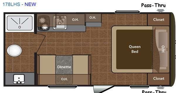 Floorplan - 2016 Keystone RV Hideout Single Axle 178LHS